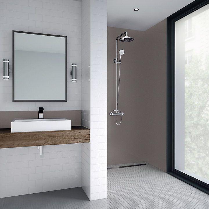 Splashwall Hessian Single Shower Panel L 2440mm W 1200mm T 4mm Shower Panels Shower Wall Kits Bathroom Paneling