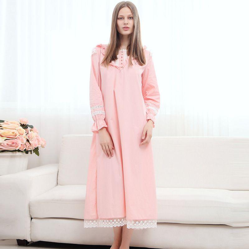 Günstige Hot Womens Pink Vintage Nachthemd Langarm Weibliche ...