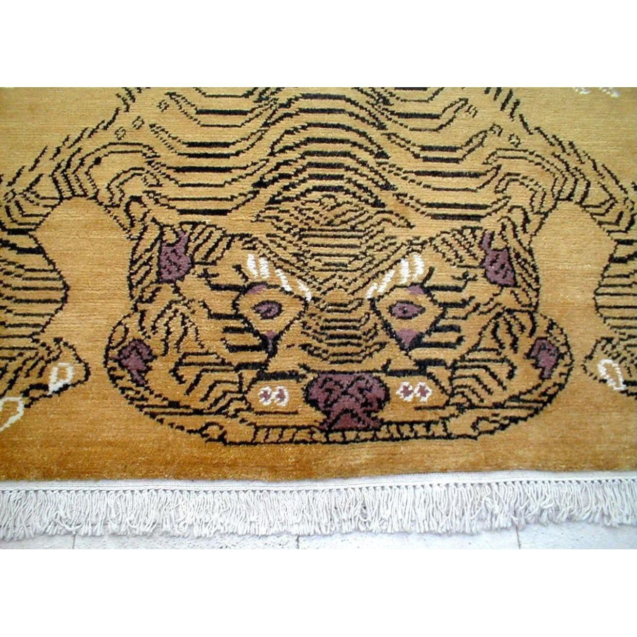 Hand Knotted Wool Golden Tiger Rug - 4′8″ × 7′