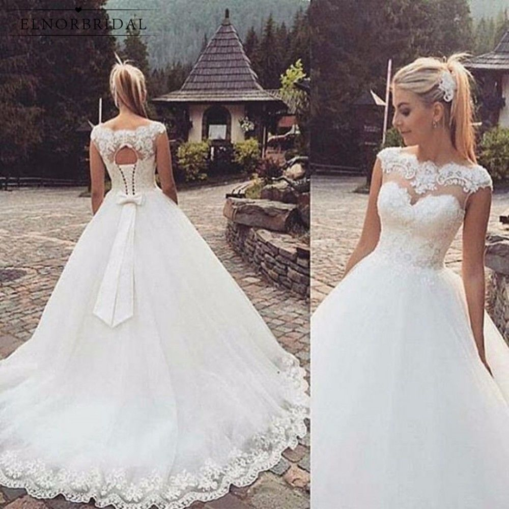 Aliexpress Com Buy Beach Tulle Ball Gown Wedding Dresses 2018 Gelinlik Corset Back Sheer Lace Handmade B Ball Gowns Wedding Bow Wedding Dress Wedding Dresses