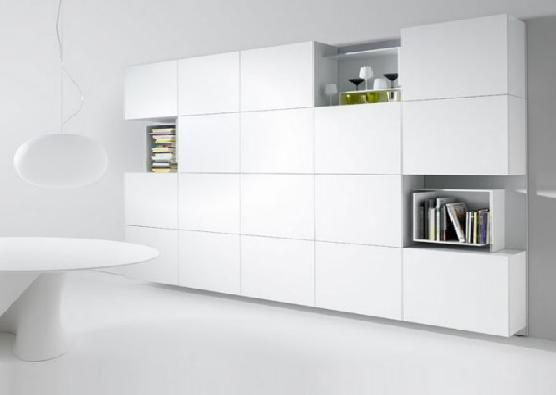 wall shelving units with doors