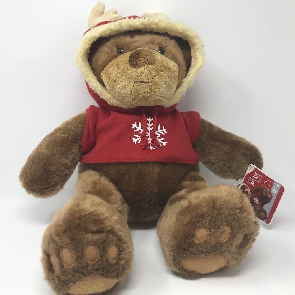 "b83c6abb308 Belk Plush Stuffed Animal Toy Belkie Bear 14"" Height Brown Holiday Red  Hoodie  Belk  AllOccasion"