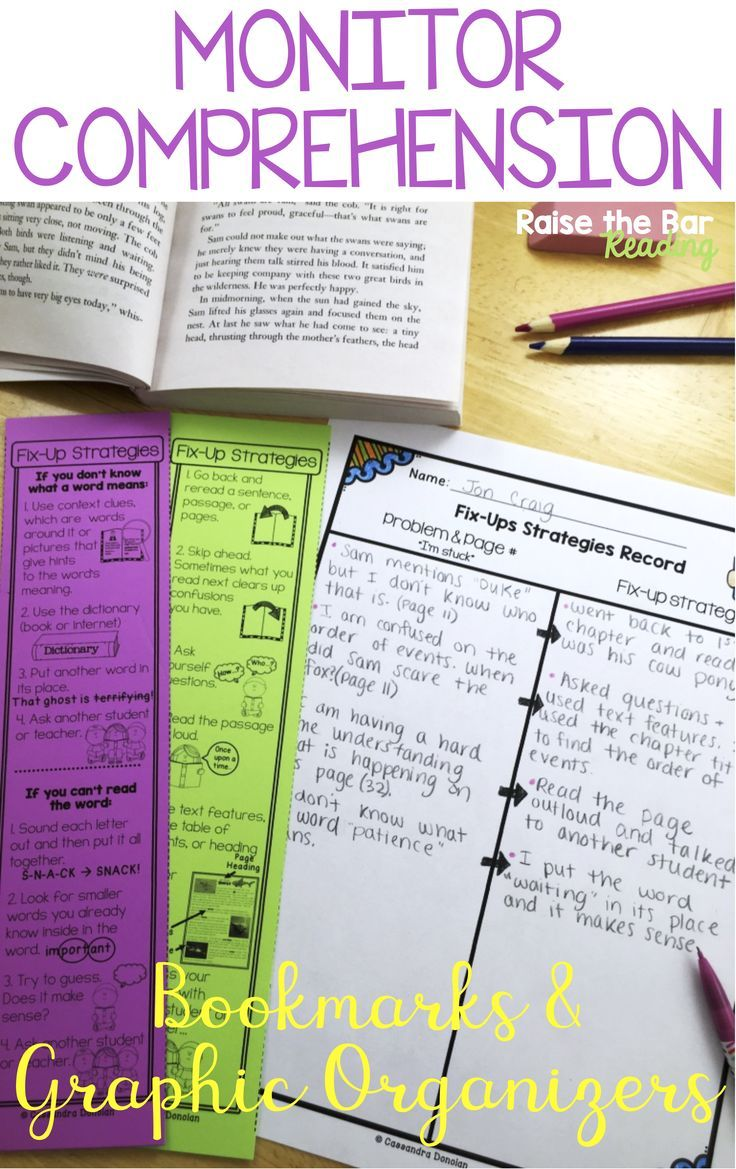 Monitor Comprehension Fix Up Strategy Poster Bookmark Graphic