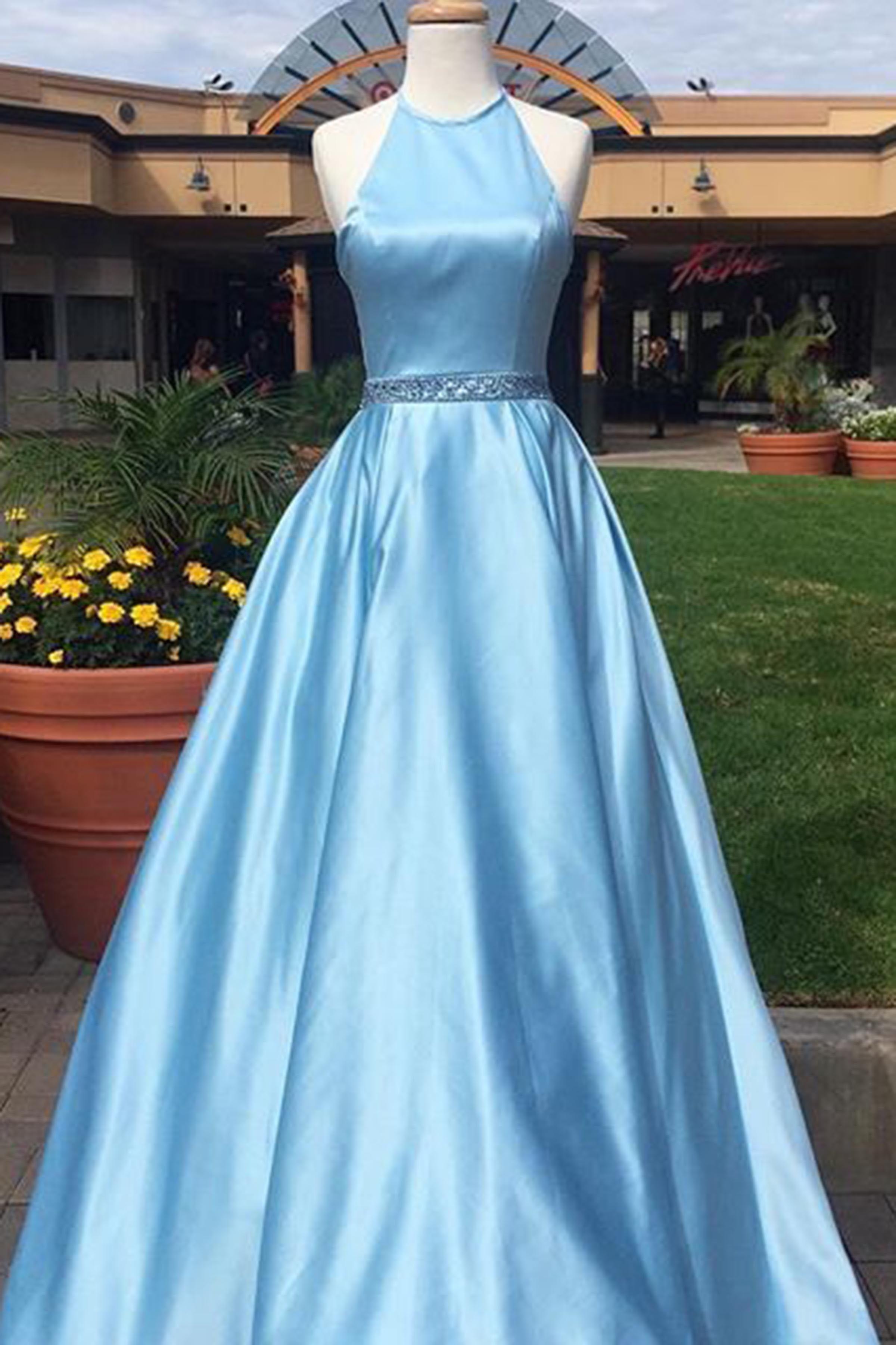 Blue satin prom dress, halter dress, ball gown, long evening dress ...