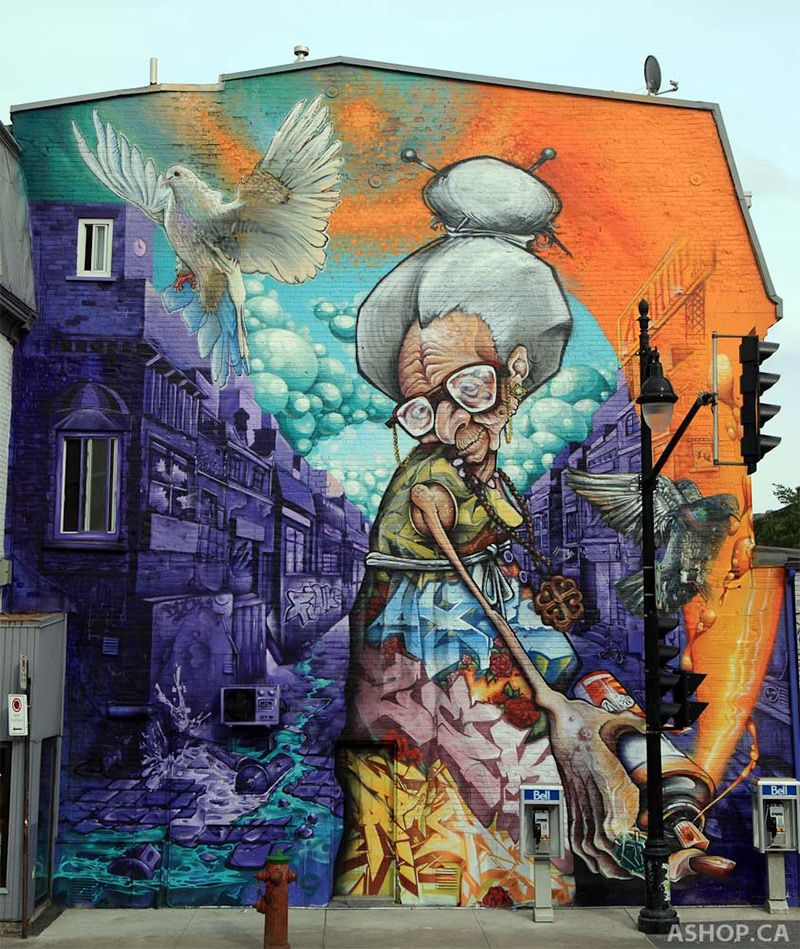 Public Murals by A'shop Crew on the Streets of Montreal | Colossal