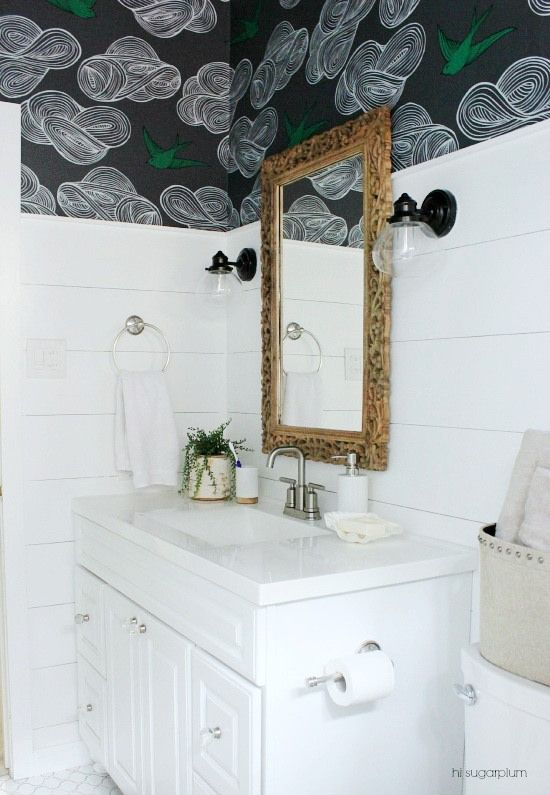 Big box bathroom the reveal wallpaper walls and lights love the painted shiplap walls and the sconce lights next to the mirror not a fan of the wallpaper though mozeypictures Choice Image
