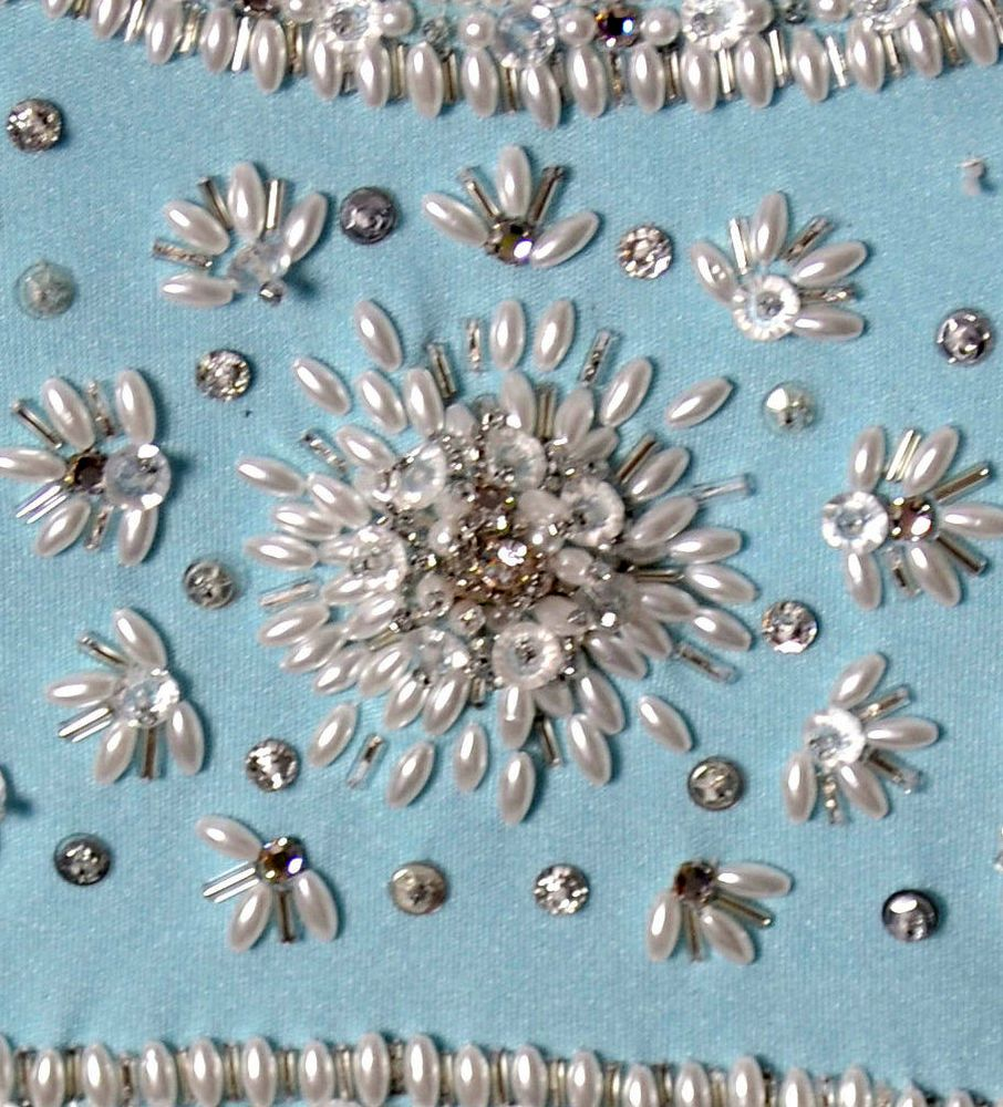 Victoria Royal - Robe de Soirée - Soie Bleu, Perles et Strass - Années 60