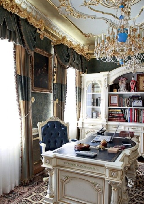 Luxurious Office Design With Rococo Style Living Room