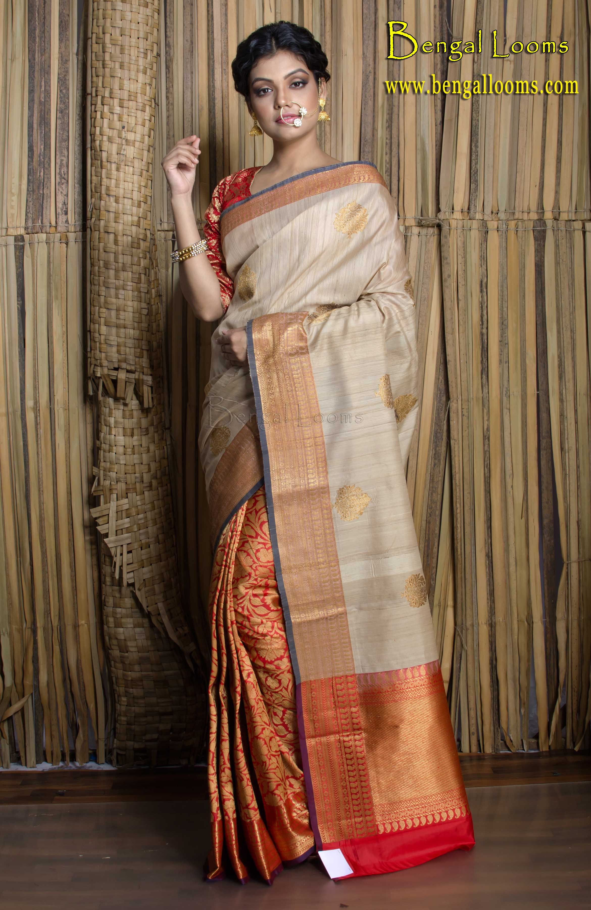 cbec07c69da56b Half Tussar and Half Brocade Silk Banarasi Saree in Beige and Red ...