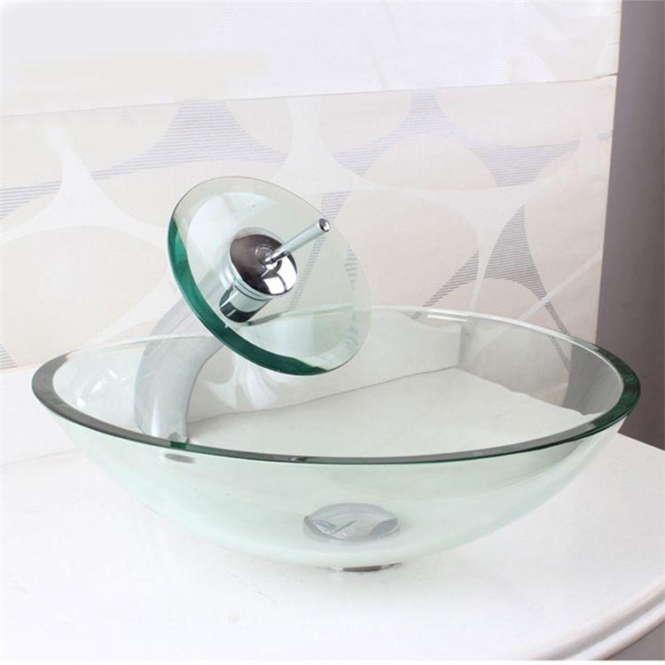 透明洗面ボウル&蛇口セット 洗面台 手洗い器 排水金具付 ハート型