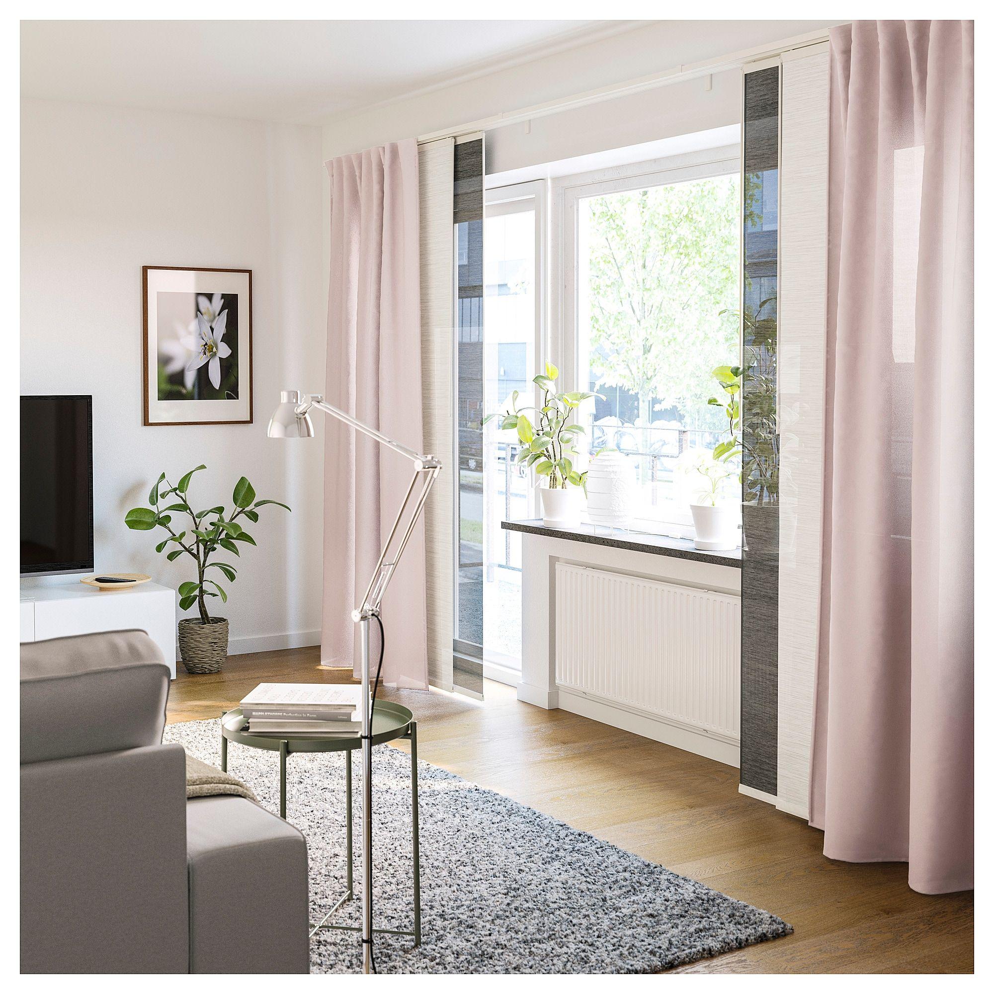 Ikea Vidga Triple Curtain Rail White Panel Curtains Living