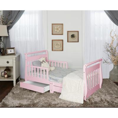 Dream On Me Pink Toddler Adjustable Sleigh Bed With Storage Drawer