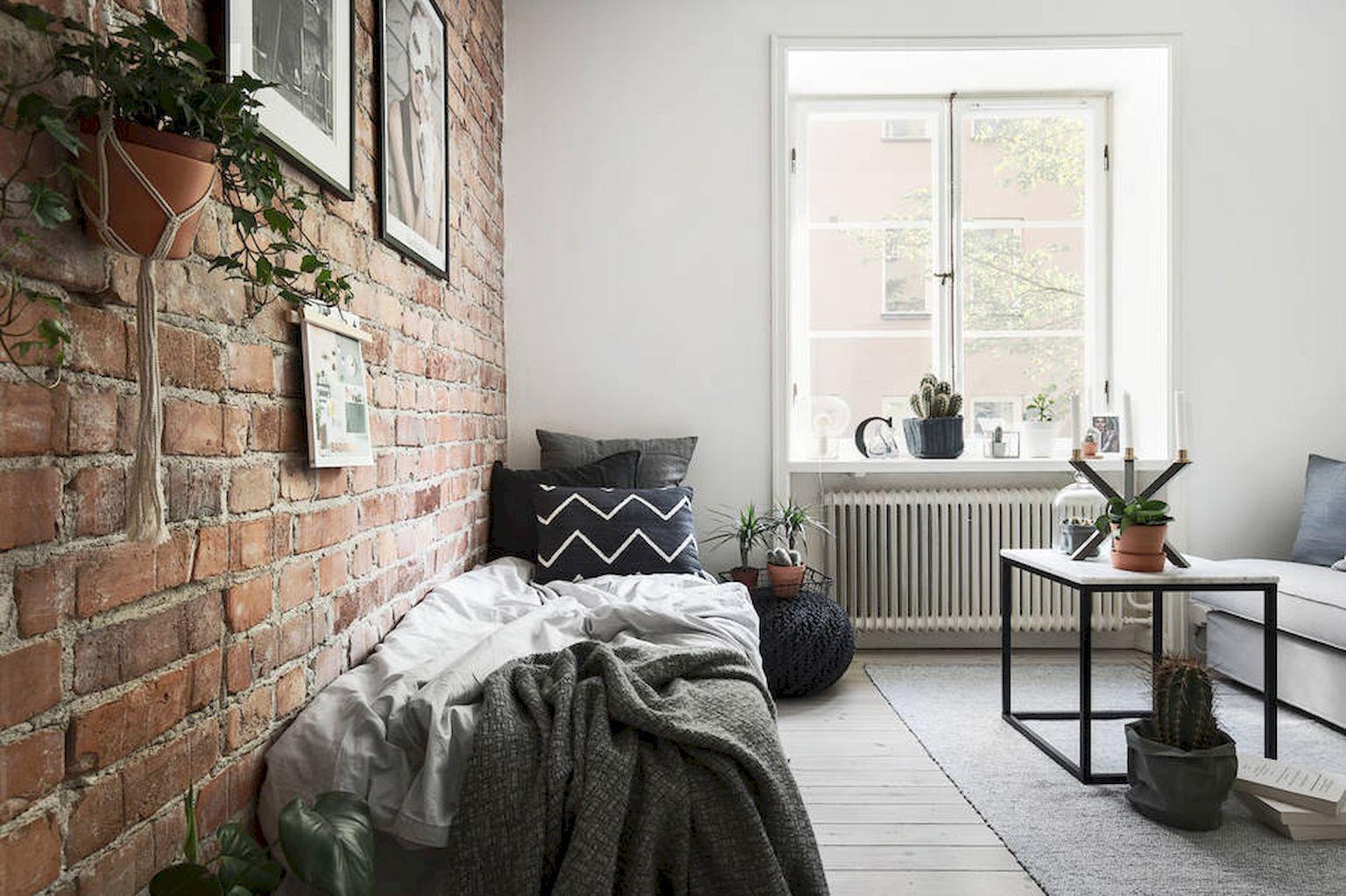 cozy master bedroom with brick wall decoration ideas wall
