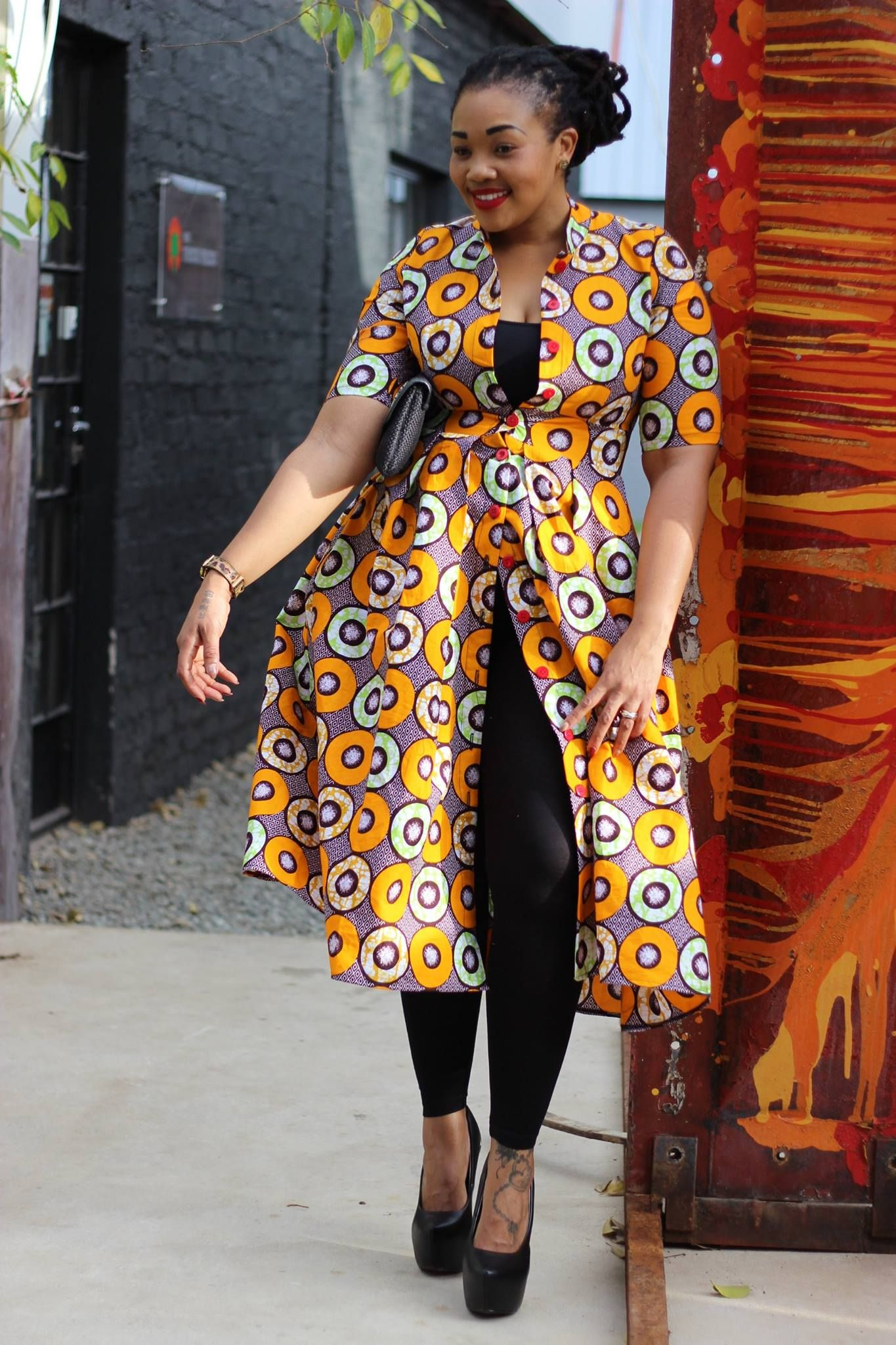 Print Coat Dress Bow Africa Fashion Vestidos De