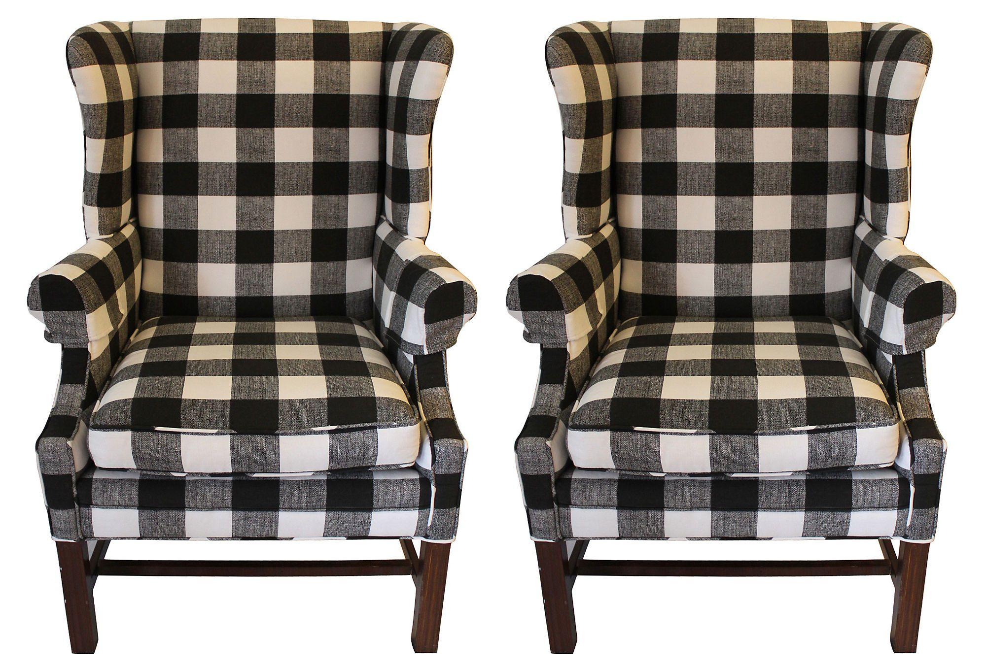 Buffalo check wingbacks pair pallet furniture bedroom