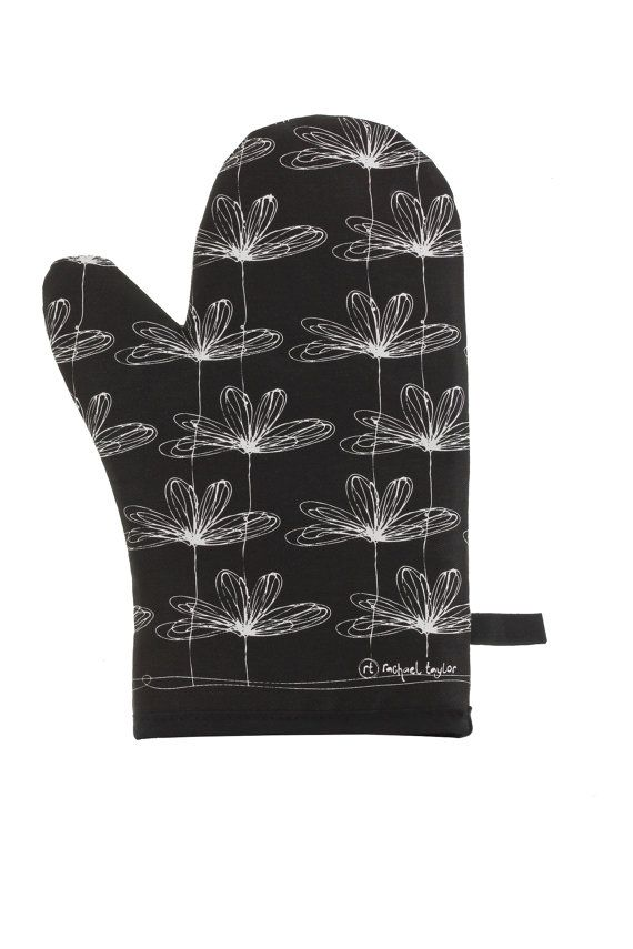 Black etched floral oven mitt by MyLuxe on Etsy