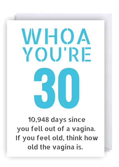 Funny 30th Birthday Card WHOA Youre 30