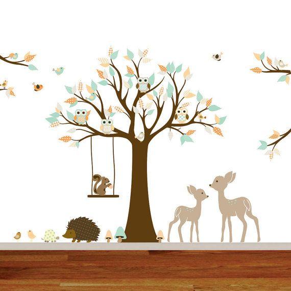 Vinyl Wall Decal Stickers Swing Tree Set With Owls Birds Deer