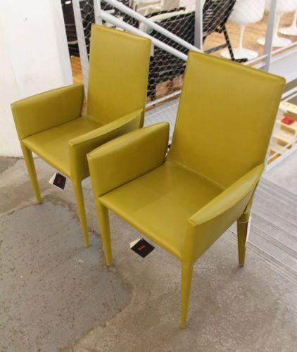 Wondrous Bottega Armchair Olive Leather Set Of 2 Modern Dwr Design Machost Co Dining Chair Design Ideas Machostcouk