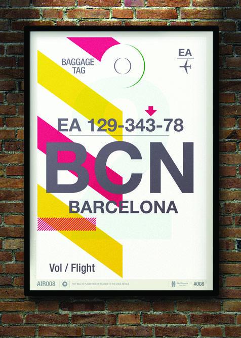 Flight Tag Prints - Barcelona by Neil Stevens Print Shop