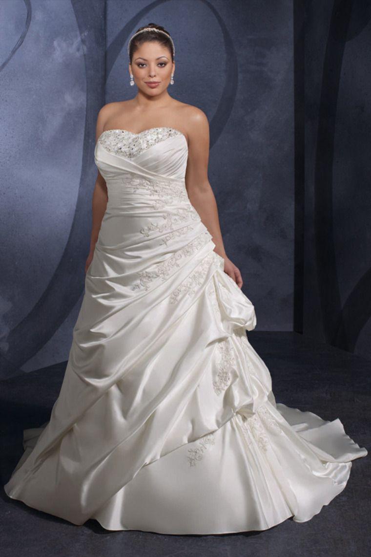 Plus Size Wedding Dresses Mermaid Sweetheart Lace Up Back Satin