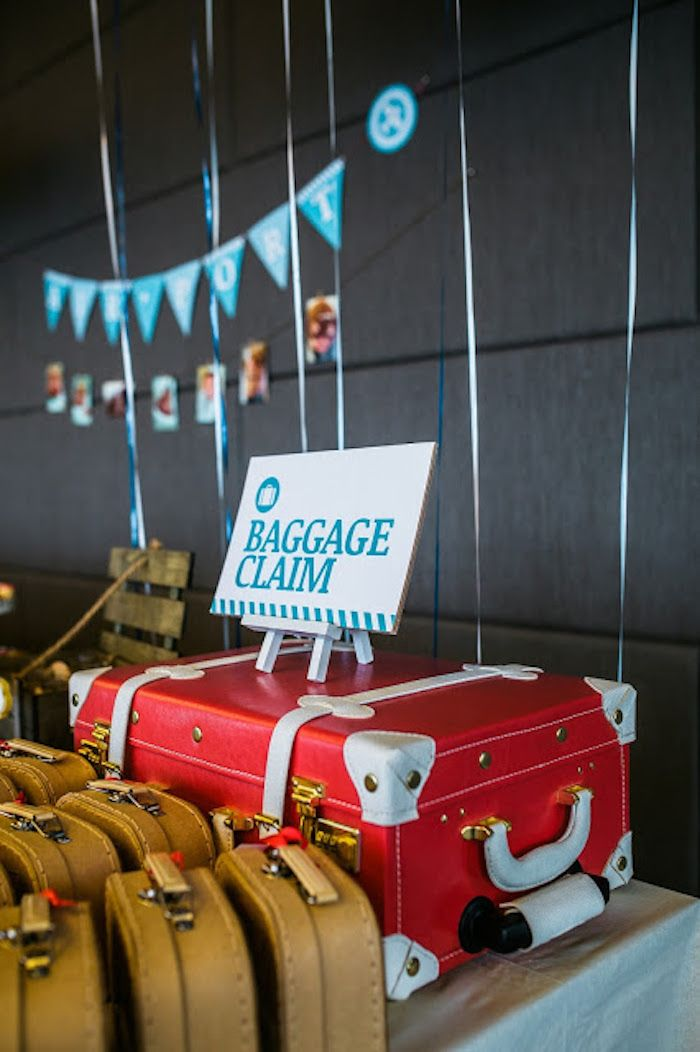 Baggage Claim Favor Suitcases from an Airplane in the Clouds
