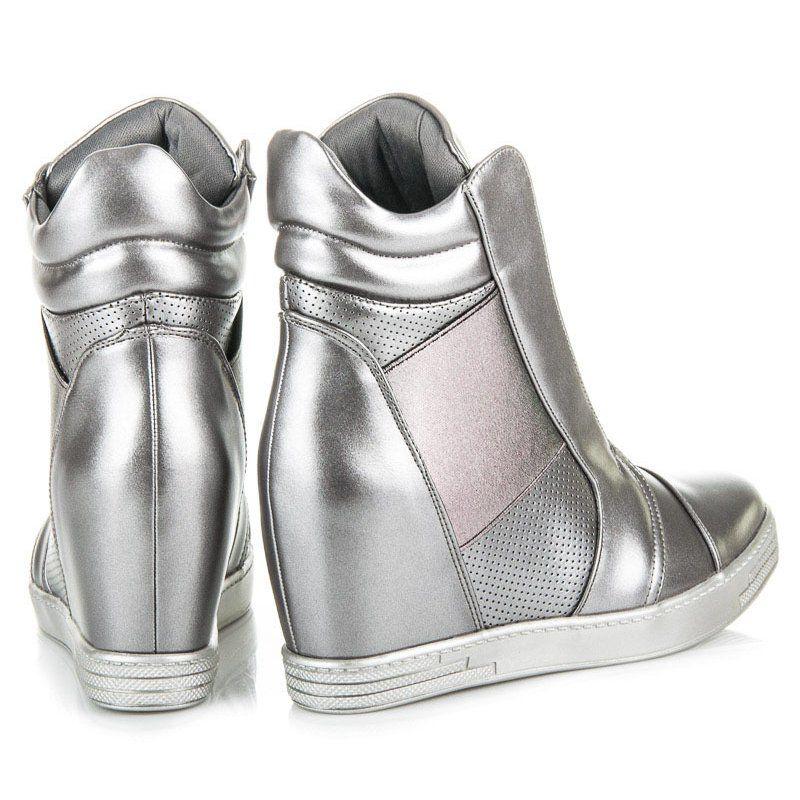 Mtt Sport Srebrne Trampki Na Koturnie Szare Boots Rain Boots Rubber Rain Boots