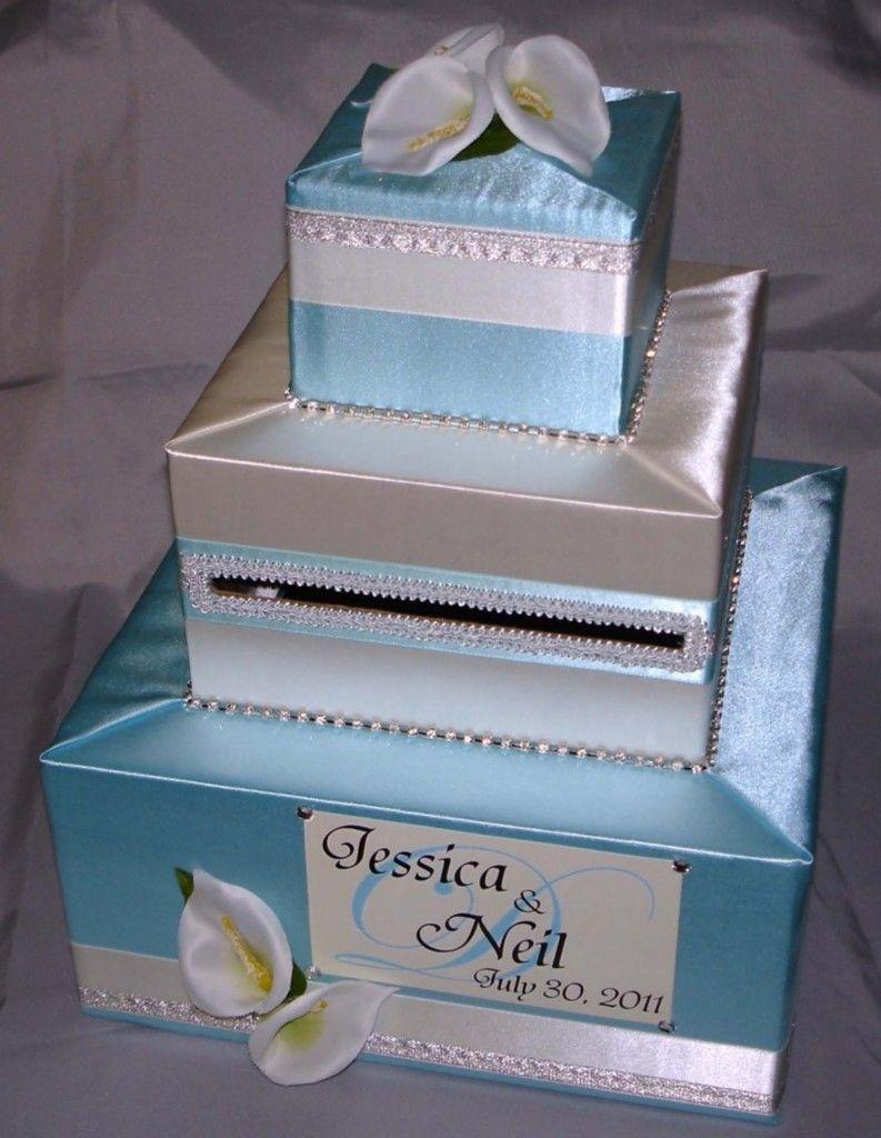 Elegant wedding card boxes tiffany blue and silver calla