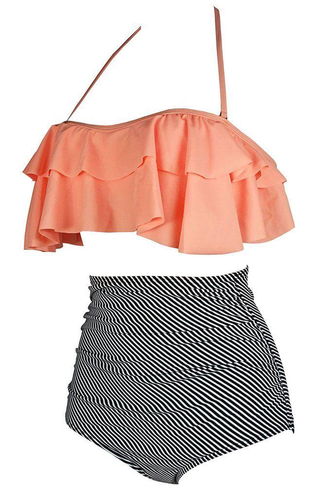 071763fb6a644 Orange & Zebra Striped Retro Boho Halter Flounce High Waist Swimsuit ...