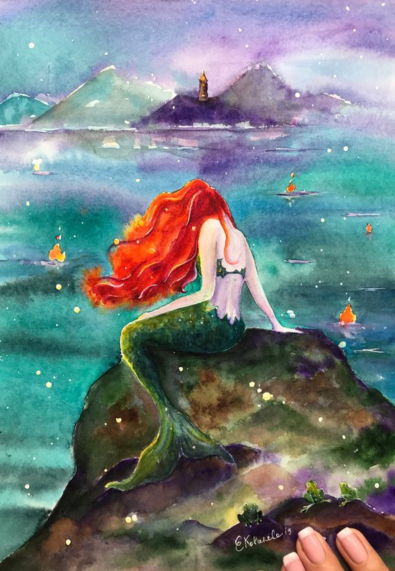 Mermaid And Lighthouse Love Story The Original Watercolor Is