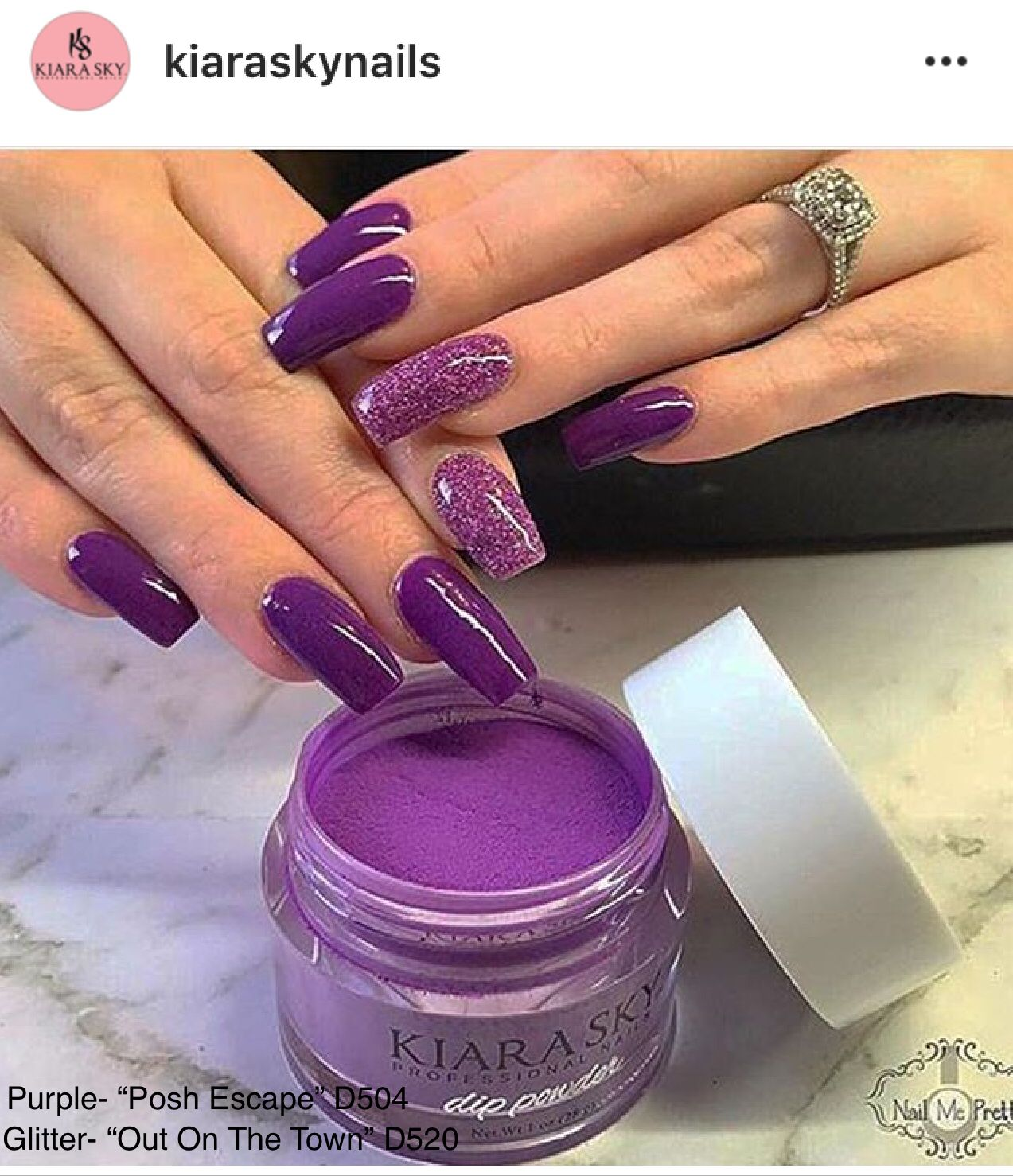 "Kiara Sky Dip Powder Swatch. Dark Purple with Purple Glitter. ""Posh ..."