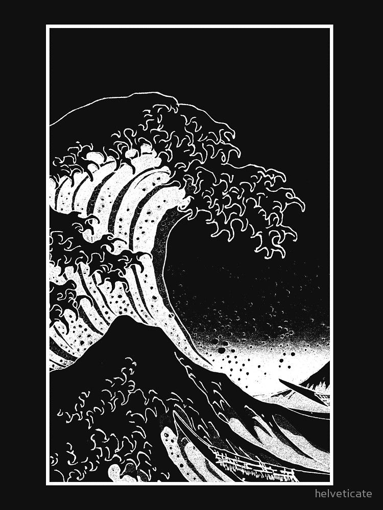 'Black & White Hokusai Great Wave' Essential T-Shirt by helveticate