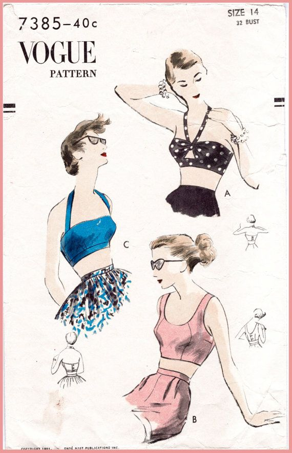 c142408621f 1950s 50s vintage sewing pattern repro crop top bra bikini top halter  bustier scoop neck blouse Bust 32 B32