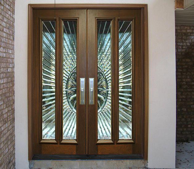 Grand Front Door Entrance Custom Contemporary Mahogany Front