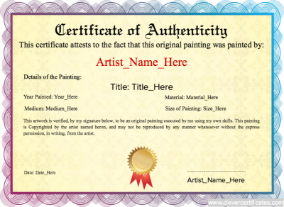 Sample certificate of authenticity certificate of authenticity original painting template authenticity guarantee template free yelopaper Images