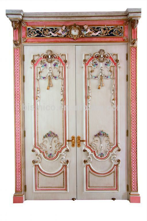 French Baroque Style Gorgeous Pink Interior Double Door Palace
