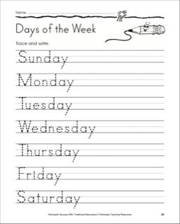 write the days of the week