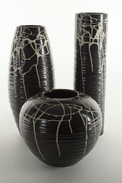 Ensemble vases Lorient céramique peinte et gravée