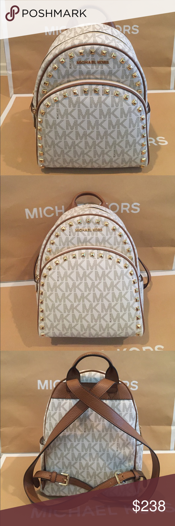e8518b54f5d1 🌹Michael Kors Abbey Medium Backpack🌹💐 100% Authentic Mihael Kors Abbey  Medium Frame out Stud Backpack Vanilla/Acorn🌴 Michael Kors Bags Backpacks