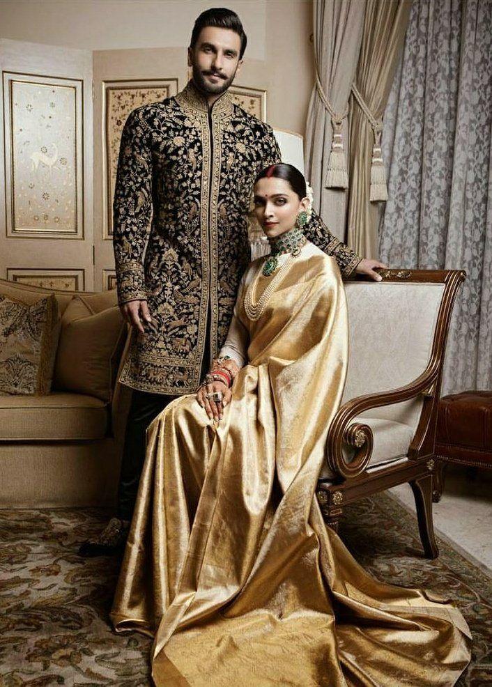 Deepika Padukone In A Gold Kanjivaram Saree Deepika In Saree Deepika Padukone Saree Deepika Padukone