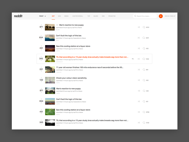 Reddit Redesign With Images Interactive Design Responsive