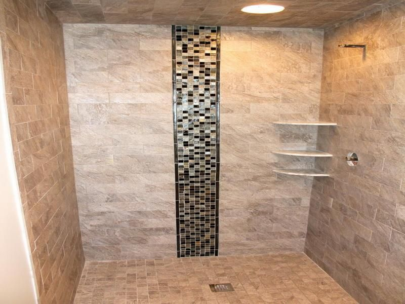 Walk In Tile Shower Designs | Walk In Shower Design Ideas With Black Mozaic  Tile