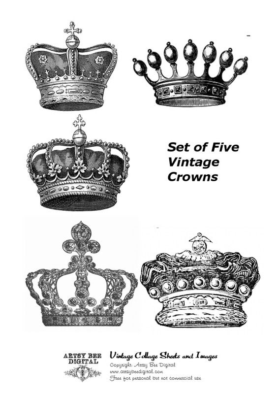 Vintage Crowns Illustrations Collage Sheet free for