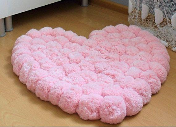 Herz teppich rosa teppich pom pom teppich weichen pink stuff
