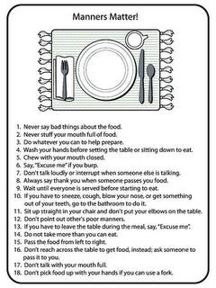 Drives me crazy when parents don 39 t teach children proper for Table etiquette rules