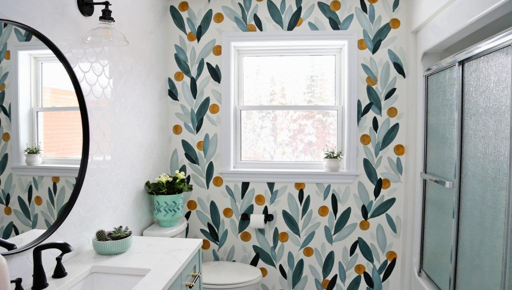 How To Paint Over Wallpaper In A Bathroom Diy Fynes Designs In 2020 Painting Over Wallpaper Home Decor Shelves Bathrooms Remodel