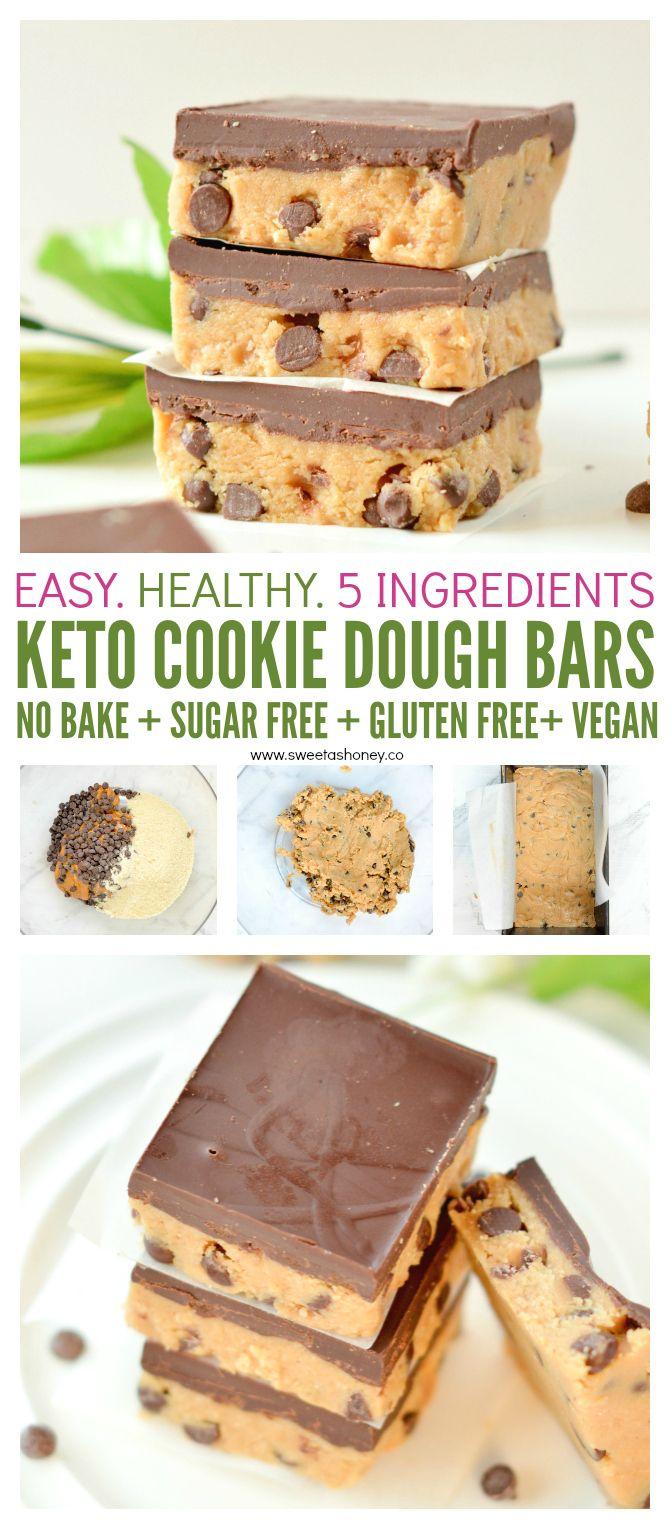 No bake Cookie Dough Bars Keto 6g net carb - Sweetashoney