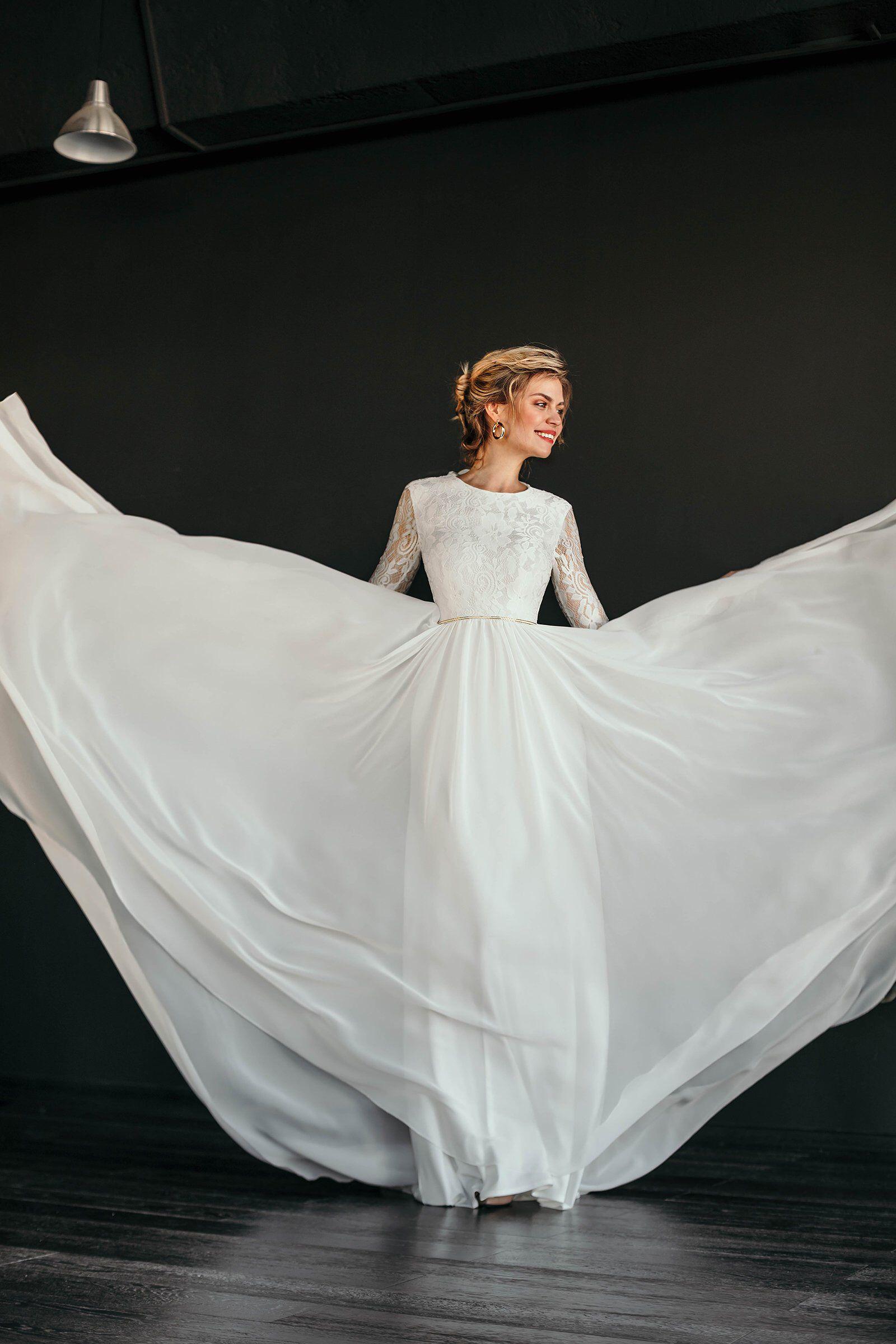 Flowy wedding dress with sleeves  Romantic wedding dress