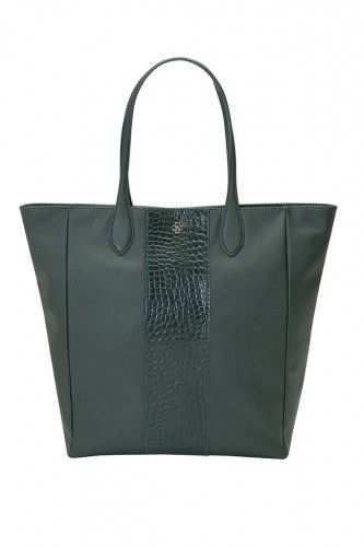 ANN TAYLOR Embossed City Leather Tote