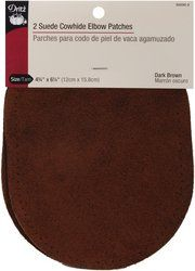 "Amazon.com: Suede Cowhide Elbow Patches 4 3/4 "" x 6 1/4"" (2/Pkg-Dark Brown): Arts, Crafts & Sewing"